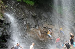 Enjoying rainy waterfalls