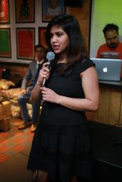 Emcee Maanvi interacting with audience
