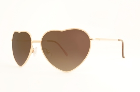 Heart shaped golden frame with pink colored light weight glasses