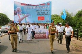 A rare sight!! Girl guides of the Navrachana school leading the 'Banner-jees' & the Padayatra, Vadodara, Gujarat