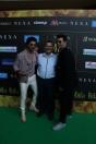 Varun Dhawan with Andre Timmins, Director- Wizcraft International, the producers and creator of the IIFA movement and Karan Johar at Juhu PVR at IIFA press conference 19th June'17