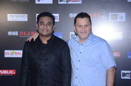 A.R. Rahman with Andre Timmins, Director, Wizcraft at the premiere of One Heart